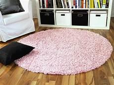 hochflor langflor shaggy teppich aloha rosa rund g real