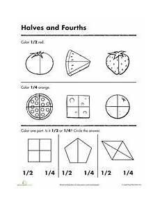 worksheets beginning fractions halves fourths classroom math fractions worksheets