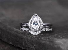 pear shaped silver wedding ring cubic zirconia wedding band cz engagement ring stack ring