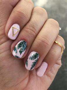 tropical palm print nail art rose gold lining
