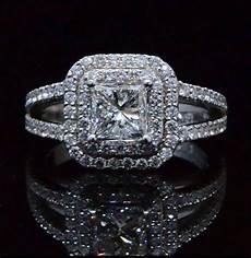 1 76 ct princess cut diamond double halo u setting 14k engagement ring egl g vs1 ebay