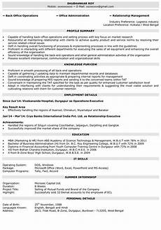 operations executive operations manager resume sles naukri com