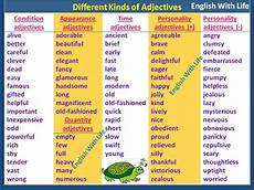 different kinds of adjectives vocabulary home