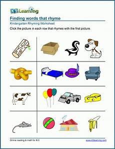 matching pictures that rhyme worksheets k5 learning