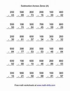 3rd grade math worksheet addition and subtraction subtraction worksheet subtraction across zeros 36