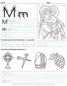 letter m recognition worksheets 24313 catholic alphabet letter m worksheet preschool kindergarten thecatholickid lettering