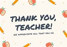 thank you card for teachers template customize 58 thank you card templates canva
