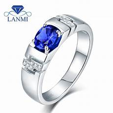 noble oval 5x7mm natural blue sapphire men s rings in solid 14kt white gold wedding 585 diamond