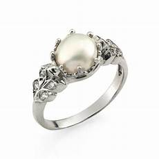 engagement ring pearl wedding ring floral engagement by netawolpe