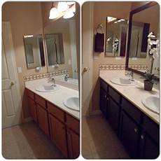 main bathroom remodel framed mirror with mdf trim then