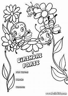 bees birthday invitation coloring pages