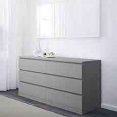malm commode 224 6 tiroirs gris teint 233 ikea