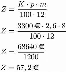 monatszinsen berechnen