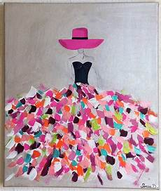 modele de tableau moderne tableau moderne femme robe coloree tableau multicolore