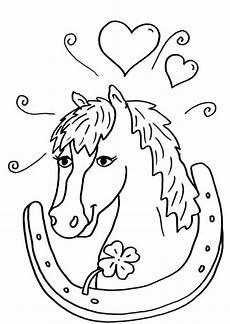 Schule Und Familie Ausmalbilder Pferde Kostenlose Malvorlage Pferde Pferd Und Hufeisen Zum Ausmalen