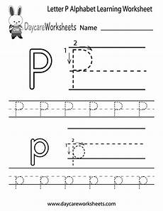 free letter p alphabet learning worksheet for preschool