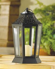 black moroccan 10 quot tall candle holder lantern l light outdoor terrace patio ebay