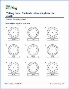 grade 2 telling time worksheets 5 minute intervals draw
