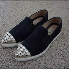 Miu Miu Shoes Blue Suede Swarovski Slip On