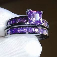 promotion purple princess cut fashion black gold color new cubic zirconia wedding engament