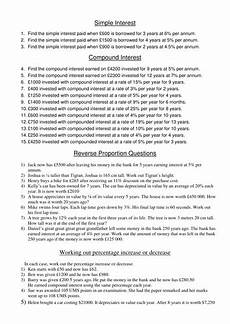 worksheet to practise simple and compound interest and