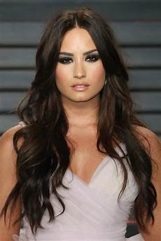 demi lovato wavy dark brown barrel curls hairstyle steal