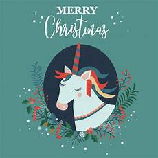 merry christmas card with unicorn vector premium download