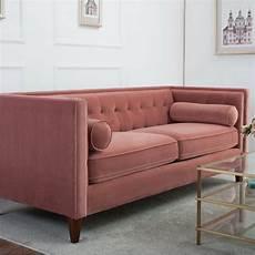 Modern Pink Velvet Luxe Tufted Chesterfield Style Sofa