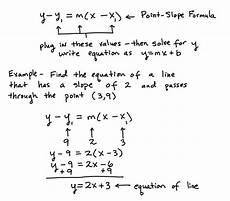 write equation of line point slope formula learning