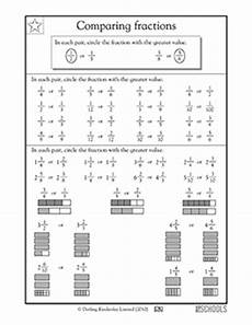 3rd grade math worksheets comparing fractions greatkids