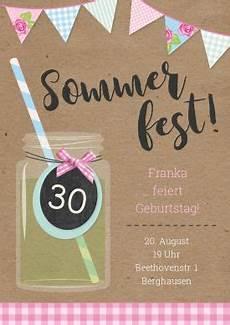 tolle einladungskarte zum sommer geburtstag romantisch