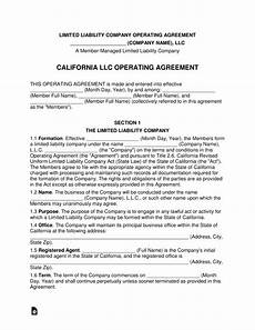 free california multi member llc operating agreement form pdf word eforms free fillable