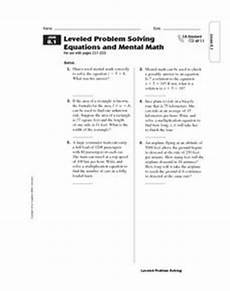 leveled problem solving equations and mental math 5th 7th grade worksheet lesson planet