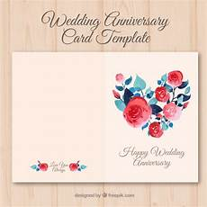 Anniversary Cards Templates Wedding Anniversary Card With Watercolor Flowers Free Vector