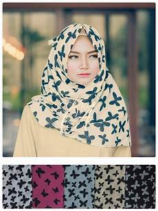 Model Terbaru 2017 Pashmina Denim Butterfly