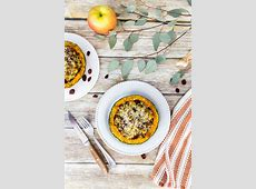 baked butternut squash stuffed with apples and sausage image