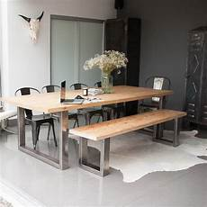 essplatz mit bank reclaimed pine and steel dining table bench and chairs by