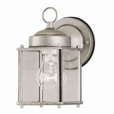 westinghouse 1 light antique silver steel exterior wall lantern with clear glass panels 6468400