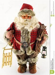 weihnachtsmann puppe mit schlitten stockfoto bild