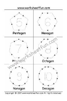 shapes and number tracing pentagon hexagon heptagon octagon nonagon decagon 1 worksheet