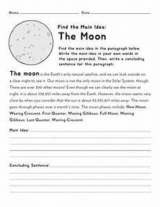 find the main idea the moon worksheet education com