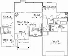 1350 sq ft house plan traditional style house plan 3 beds 2 baths 1350 sq ft