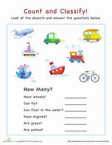 sorting and classification worksheets 7771 count and classify vehicles with images preschool math worksheets preschool math math