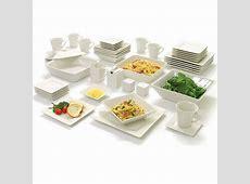 45 Piece White Dinnerware Set Square Banquet Plates Dishes
