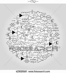 schematic symbols in electrical engineering in circle eps10 clipart k23020581 fotosearch