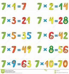 table de 7 table de multiplication de 7 illustration de vecteur