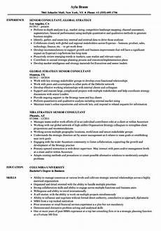 strategy senior consultant resume sles velvet