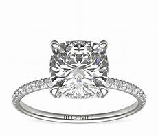 blue nile studio cushion cut pav 233 crown diamond engagement ring in platinum 3 8