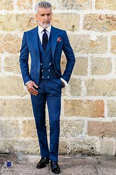 Costume Homme Italienne Bleu Avec Revers Crant 233 S 2