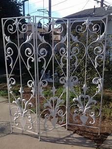 vintage wrought iron metal tri fold garden screen room